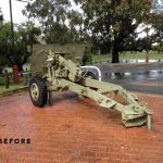 Victoria Park RSL's field gun in its first position