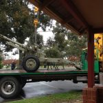 The Victoria Park RSL field gun being transported the short distance to its new home