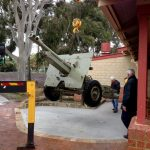 The Victoria Park RSL field gun being lowered